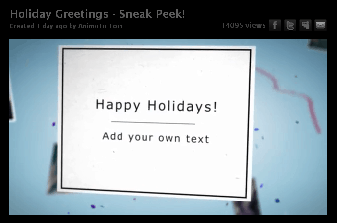 Animoto Holiday Cards