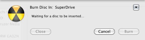 Mac OS X Insert a disc