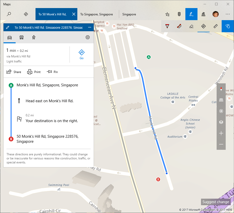 Inking in Maps with Windows Creators Update