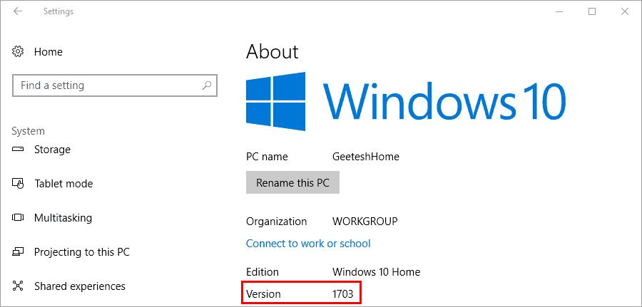 Windows 10 Creators Update About